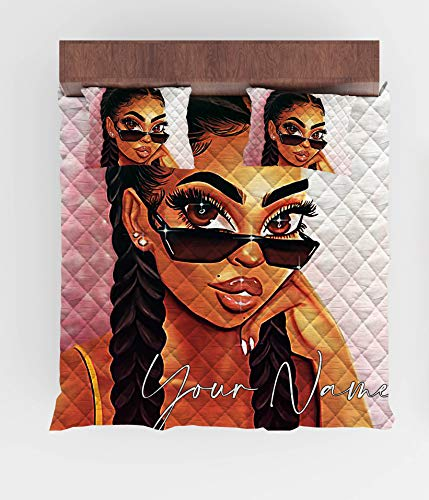 GETYSORA Custom Bedding African American Girl with Glasses Bedding Personalized Name Quilt Set