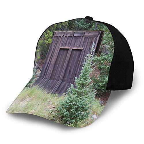 Gorra de béisbol estructurada, Farm Life House Puerta de cabaña de madera en el bosque, impresión artística, sombrero de papá para hombres y mujeres, perfil bajo ajustable