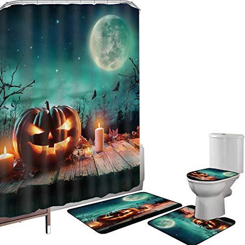 Shower Curtain Set Bathroom Accessories Carpet Set Halloween Bath Mat Contour Rug Toilet Cover Fantastic Magic Night Spooky Atmosphere Candles Pumpkin on Wooden Planks Print,Multicolor Non-Slip Waterp