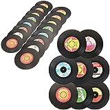 com-four® 24x Untersetzer für Getränke - Tischset Getränkeuntersetzer Maxi-Single/EP - Retro Vinyluntersetzer im Schallplatten-Design (24 Stück - Vinyl)