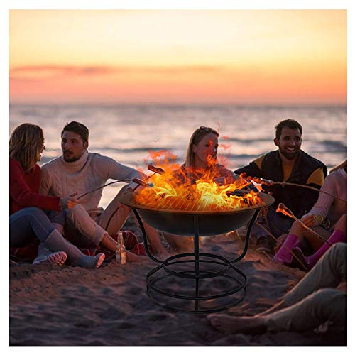 Fire Pit,22'' Fire Pits Outdoor Wood Burning Steel BBQ Grill Firepit Bowl with Mesh Spark Screen Cover for Camping Picnic Bonfire Patio Backyard,Metal Garden Stove Fireplace With Poker (Ship from USA)