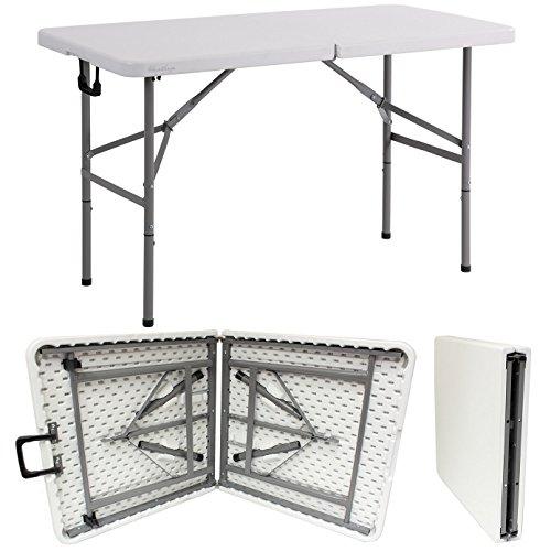 Table de banquet pliable robuste de 4 m - Blanc - Pour fête, jardin, camping, extérieur et intérieur - Extra résistante, capacité de charge jusqu'à 400 kg (2)