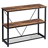 FELLYTN Console Table for Entryway, Industrial Sofa Table with Metal Mesh Shelf 3 Tier Hallway Table, 40 Inch Rustic Brown