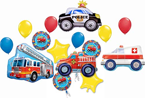 First Responder Birthday Party Supplies Balloon Bouquet Decorations 15 piece kit with Rescue Team Fire Engine, Ladder Truck, Police Car and Ambulance