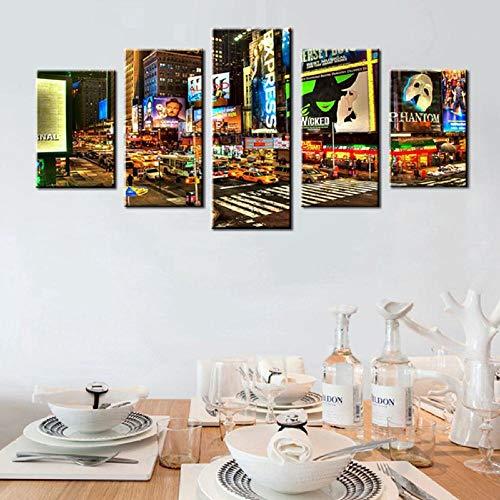 ZZCCFF 5 Panels Stadt Nacht Broadway Street Wandkunst Leinwand Gemälde,Bild für Office Home Wanddekoration,Modern Home Decoration Artwork-Framed_30x40cmx2_30x60cmx2_30x80cmx1