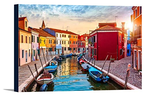 Burano Island, Venice, Italy - Canal & Colorful Homes at Sunset A-9008353 (18x12 Gallery Wrapped Stretched Canvas)