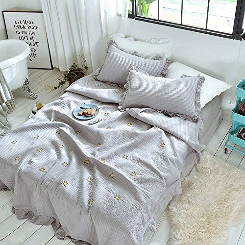 MYPNB Funda de Almohada Cobertor Bedspread, Cubierta de la Cama de Cristal vellón Espesada, 3piece Acolchada Cama Cubierta de la Funda de Almohada, Aire Acondicionado Manta, método Linda Rosa