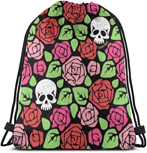 KINGAM Casual Drawstring Bag Shoulder Sack, Women and Men Large Sports String Backpack, Students Lightweight Roses Sugar Skull Cinch Sackpack, Travel Bags