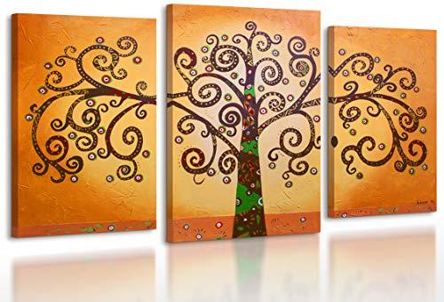 100% HANDMADE + certificato / Quadro dipinto con colori acrilici Albero della vita 2 / dipinti su tela con lettiga in legno / artigianali / Comodo fissaggio alla parete / Arte Contemporanea /130x80 cm