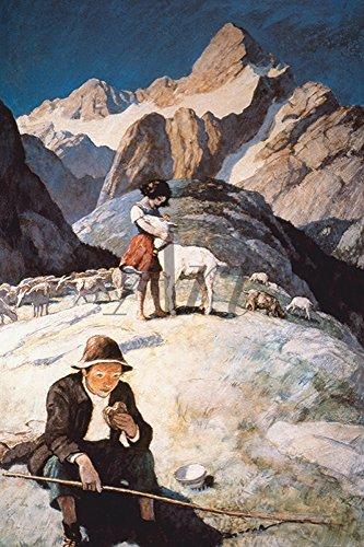 Artland Alte Meister selbstklebendes Poster N.C. Wyeth Bilder Heidi und Peter auf dem Berg Wandbild Zeitgenössische Kunst Gemälde Kunstdruck 30 x 20 cm C4BE