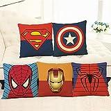 Uymkjv Socket de Almohada 5 Conjuntos de enchufes de Almohada Taja Capitán Americano Hombre Hombre Minéshan Heroes Spiderman Anime Almohada Set 45x45cm
