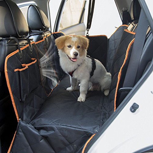 SlowTon Dog Seat Cover, Waterproof Pet Car Back Seat Hammock with Rubber Non Slip Backing Bottom, Zippered Slide Flaps, Pouches and Mesh Visual Window in Car Vehicle Trunk for Pets Road Trip