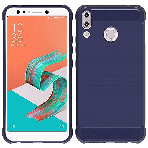 ebestStar - Coque Compatible avec ASUS Zenfone 5 ZE620KL, 5Z ZS620KL Housse Etui Gel Motif Fibre Carbone Luxe Flex TPU Premium, Bleu Foncé [Appareil: 153 x 75.7 x 7.9mm, 6.2'']