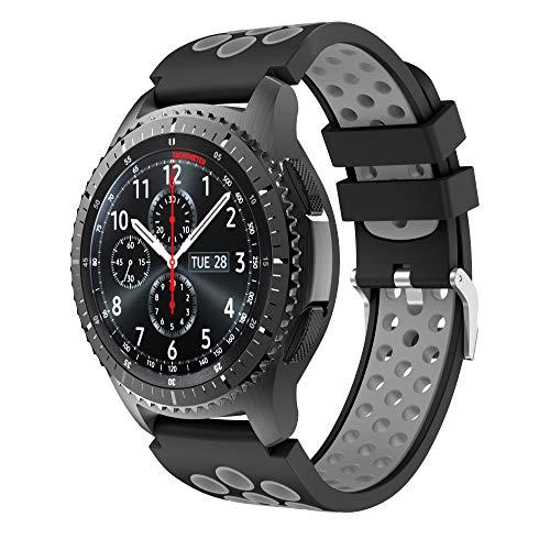 CSVK Compatible con Correa de Reloj Gear S3 Frontier/Classic, Reemplazo de Banda de Silicona Suave Deportiva Pulsera de Repuesto para Galaxy Watch 46mm/Gear S3/Moto 360 2nd Gen 46mm