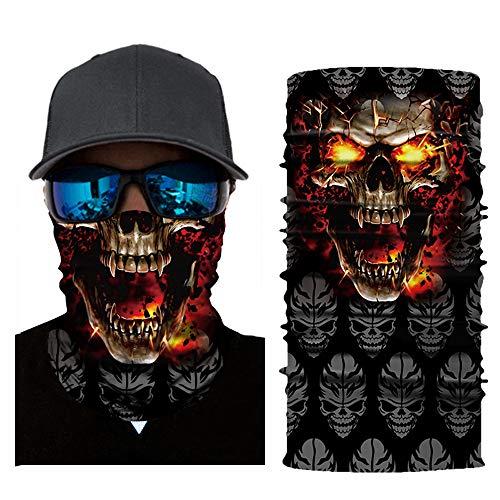 FRAUIT Halstuch Gothic 3D Motorrad Halstuch Kopftuch Schlauchtuch Wind Face Shield - Motorrad Gesicht Mundschutz Lustig Skull Maske Bandana Halsschlauch Halstuch mit Motiv
