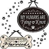 2 Stücke Haustier Verlobung Zeichen My Humans Are Getting Married Hölzerne Knochenförmige Hochzeit Schild My Humans Are Tying The Knot Haustier Hochzeit Ankündigungstafel für Zeremonie