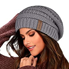 This Slouchy Knit Beanie Hats for Women and Men is double layer with fleece lined made of comfortable,durable and AZO Free acrylic,cute and soft; Good elasticity make it accommodates any head size; This Knit Beanie Hat is a perfect gift for a college...
