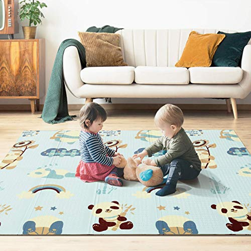 YISSVIC Baby Play Mat 71 x 79 inch Baby Floor Mat Crawling Playmat Waterproof Foldable Kids Play Mat Reversible Indoor and Outdoor Use with Travel Zipper Bag Extra Large