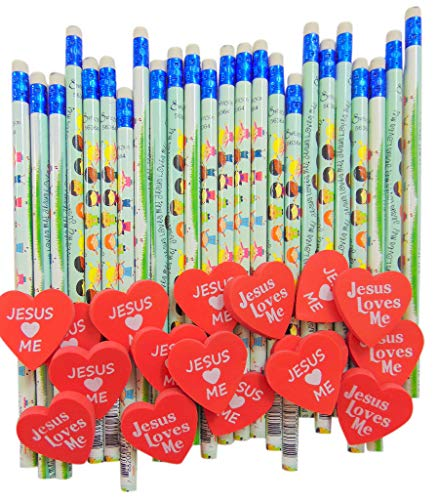 Jesus Loves Me Classroom Reward Set for Christian Schools with 2 Dozen Pencils and 24 Heart Erasers