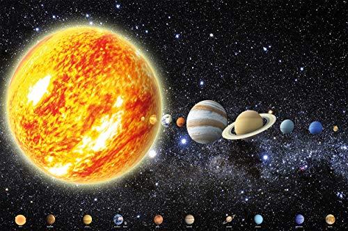 GREAT ART® Fototapete – Sonnensystem Planeten – Wandbild Dekoration Galaxie Cosmos Space Universum All Sky Sterne Galaxy Weltraum Earth Foto-Tapete Wandtapete (336 x 236 cm)