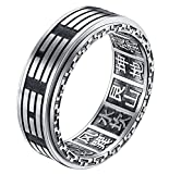 ALEXTINA Men's 8MM Stainless Steel Yin Yang Spinner Ring Ba Gua Feng Shui Eight Trigrams Signet Band Size 11