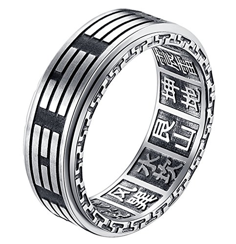 ALEXTINA Men's 8MM Stainless Steel Yin Yang Spinner Ring Ba Gua Feng Shui Eight Trigrams Signet Band Size 7