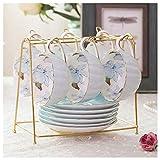 FEIYIYANG Tazas Juego de té de la Tarde británica Flor de la casa Taza de té Hecho a Mano Copa de cerámica Elegante Taza...