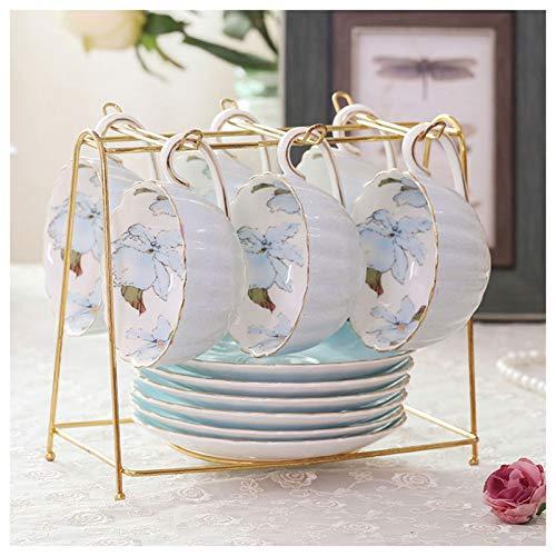 Xu Yuan Jia-Shop Tazas de Espresso Juego de té de la Tarde británica Flor de la casa Taza de té Hecho a Mano Copa de cerámica Elegante Taza de café Girly Apto para té de la Tarde de Boda Juegos de