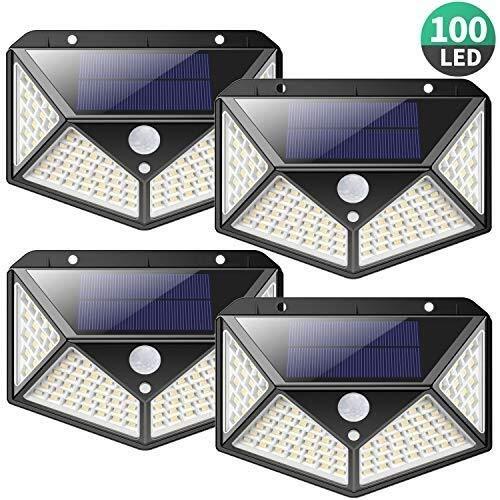 Neue Solarleuchten Außen 100 LED, [2200mAh Super Energy Saving] iPosible Motion Sensor Sicherheits-Leuchten 270º Wandleuchten Solarleuchten Wireless wasserdicht mit 3 Modi for Garten Außen (4-Pack)