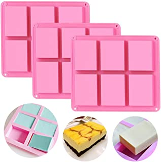 Silicone Soap Molds Set of 3, 6 Cavities DIY Handmade Soap Moulds - Cake Pan Molds for Baking, Biscuit Chocolate Mold, Silicone Soap Bar Mold for Homemade Craft, Ice Cube Tray