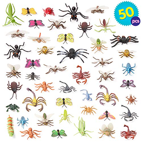 50 Insectos y Bichos de juguete de Aspecto Realista Colores brillantes y Diseños Geniales - Perfecto para los amantes de los insectos y la educación de los niños.