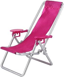 YeahiBaby Silla de casa de muñecas en miniatura, silla Oxford ajustable, silla plegable de hierro, patas para playa, baño, mediodía, descanso (rosa)
