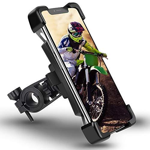 Mobilhållare cykel automatisk krympning för 4,5–7,2 tum smartphone motorcykel mobiltelefonhållare mobiltelefon cykelhållare rostfritt stål med 360° kulled, anti-krok, avtagbar för styre