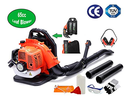 BU-KO 65cc Petrol Backpack Leaf Blower - Powerful 2 Stroke Air Cooled Engine - 210 MPH - Lightweight With New and Improved Padded Support Straps For Maximum Comfort While Using