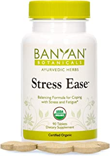 Banyan Botanicals Stress Ease – Organic Herbal Supplement with Ashwagandha – for Stress Relief, Fatigue, Rejuvenation & a ...