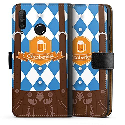 DeinDesign Tasche kompatibel mit Huawei P30 Lite New Edition Leder Flip Case Ledertasche Bier Feiern Lederhose