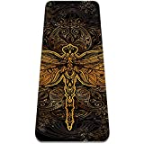 6mm Extra Thick Yoga Mat, Dragonfly Mandala Print Eco-Friendly TPE Exercise Mats Pilates Mat with for Yoga, Workout, Core Fitness and Floor Exercises, Men & Women
