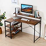 MELLCOM L Shaped Computer Desk with Monitor Shelf Open Storage Shelves,47inch Modern Sturdy Writing Desk with Bookshelves for Home Office