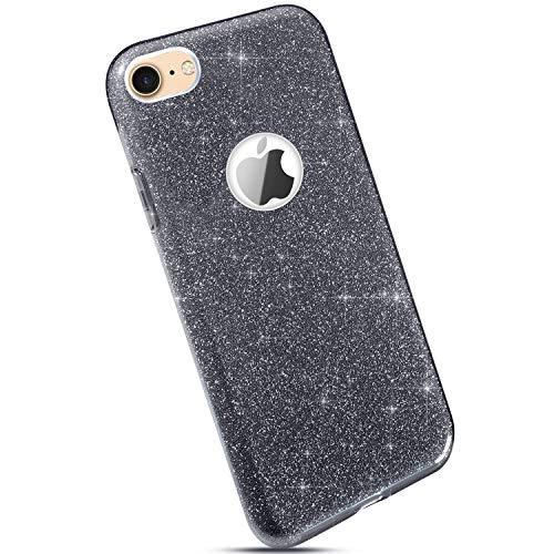 Ysimee Compatible pour iPhone 7/iPhone 8 Coque Glitter Brillante Silicone Étui de Protection [3 in 1] Paillette Bling Housse en Caoutchouc + PC Anti Choc Bumper Slim-Fit Téléphone Couverture,Gris