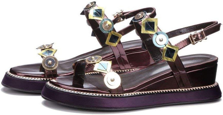 Eeayyygch Sommer-Mode-koreanische Version Version Version des genieteten Wortes mit Sandalen Katze Natur mit weiblichen Schuhe alle Trost der Frauen Schuhe (Farbe   Weinrot, Größe   38)  5ac0bc