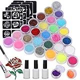 Pascua de Resurrección Emooqi Kit de Tatuajes Temporales, 24 Colores Tatuaje de Brillo para el Cuerpo Brillos de Tatuaje,con 24 Brillos,143 Plantillas de Tatuaje,5 Pinceles, 3 Pegamentos