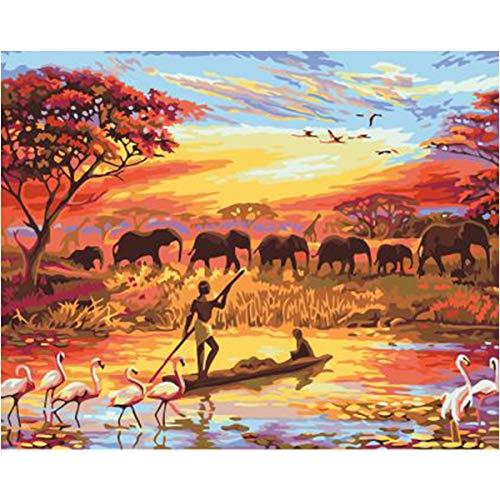 Kit de pintura al óleo por números, lienzo pintura óleo con elefante, puesta sol para adultos y niños, preimpreso decoración del hogar pintura dibujo con pinceles principiantes nuevos pintores 40x50cm