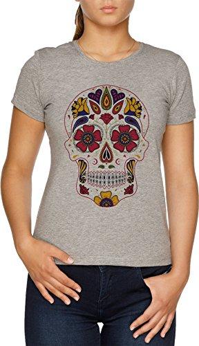 Vendax Día de el Muerto Azúcar Cráneo Oscuro Camiseta Mujer Gris
