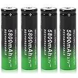 18650 Batería Recargable de Iones de Litio de 3,7 V 5800 mAh Baterías de botón de Gran Capacidad para Linterna LED, Dispositivos electrónicos, etc. 4/8 Piezas (Negro + Verde) (4 pcs)