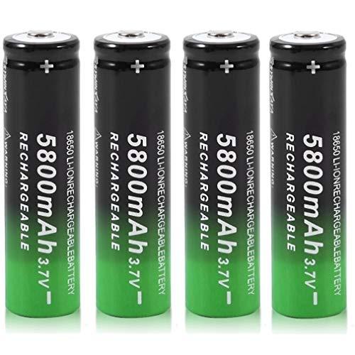 18650 Li-ION Rechargeable Batterie 3.7V 5800mAh Batteries au Lithium universelles de Grande capacité Accessoires sûrs pour Lampe de Poche LED, appareils électroniques, etc. 1/4/8 pièces (Noir) (4 pcs)