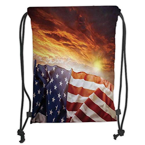 Fevthmii Drawstring Backpacks Bags,American Flag Decor,Flag in Front of Sunset Sky with Horizon Light America Union Idyllic Photo,Multi Soft Satin,5 Liter Capacity,Adjustable String Closure