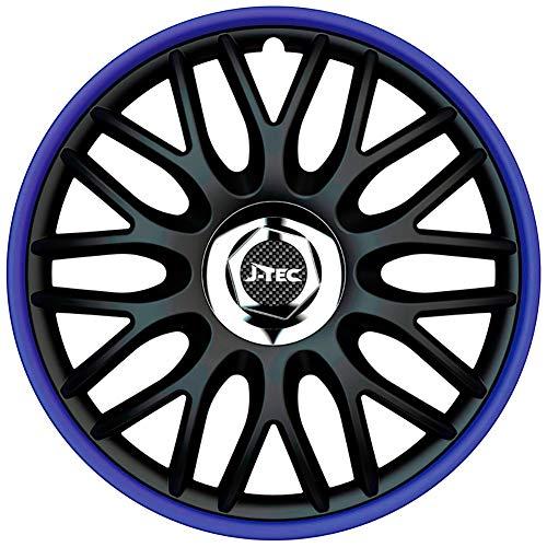 J-Tec J15518 Satz Radzierblenden Orden R 15-Zoll Schwarz/Blau + Chrom Ringe, inch