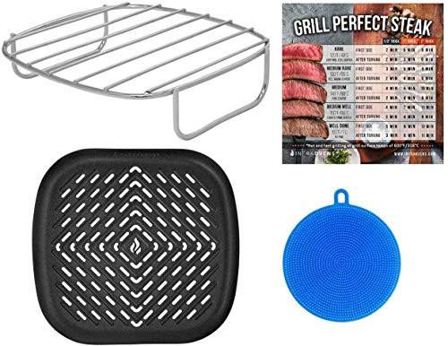 Large Air Fryer Accessory Set Compatible with Bella, GoWise, Habor, Ninja, Paula Deen, Power Airfryer Oven Vortex, Yedi, Comfee, Best Choice Products, Chef Di Cucina +More   Rack + Grill Pan