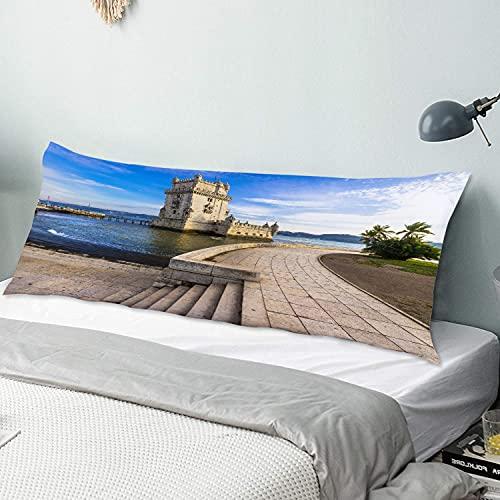 Funda de Almohada para el Cuerpo,Torre de Belem - Famoso Monumento de Lisboa P,Funda de Almohada Larga y Transpirable con Cremallera para sofá de Dormitorio,sofá de 20'x54'