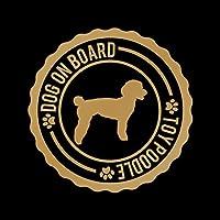DOG ON BOARD トイプードル カッティング ステッカー ゴールド 金